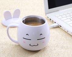 Have a nice coffee with a lovely Cartoon USB charging heated stainless steel insulated cup