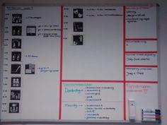 Ook in een bovenbouw is het fijn om met een duidelijke dagplanning te werken voor de kinderen. Daarbij heb ik rode tape gebruikt om vakken te maken op het whitebord. Werkt perfect! Primary School, Montessori, Crafts For Kids, Organization, Education, Learning, School, Crafts For Children, Getting Organized