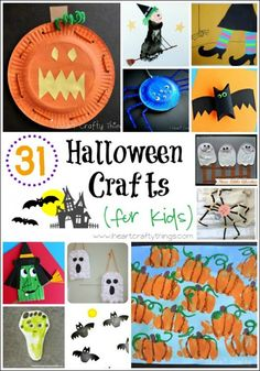 31 Halloween Crafts for Kids   I Heart Crafty Things I have put together a round up of 31 of my favorite Halloween Crafts, all from fabulous Kid Craft Bloggers. You will find all of the essential crafts for Halloween here including pumpkins, witches, spiders, ghosts, bats and Frankenstein!