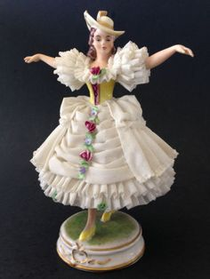 Vintage MV Volkstedt Germany Dresden Lace Porcelain Figurine Lady Woman With Hat