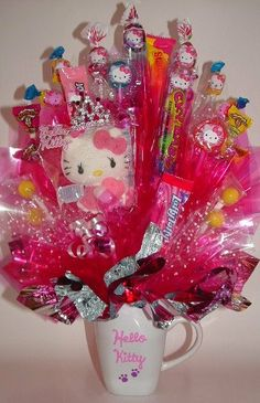 HELLO KITTY PRINCESS Candy Bouquet Centerpiece in by CandyFlorist, $39.00