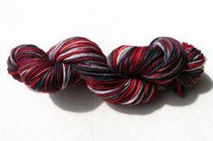 Dark Red Black Superwash Merino Worsted Yarn by tastelessdesigns (Craft Supplies & Tools, Fiber & Textile Art Supplies, Yarn & Roving, Yarn, monty python, black knight, black, red, blood, yarn, knitting, crochet, worsted, merino, superwash, washable, holy grail)