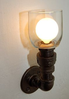 Industrial Wall Sconce plumbing pipe repurposed by RoscaLights, $65.00