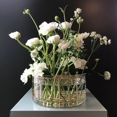 Klong äng vas silver Ikebana, White Flowers, Beautiful Flowers, Deco Champetre, Flora Design, Glass Planter, Arte Floral, Blossom Flower, Christmas Deco