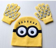 Cartoon Minions Glove And Winter Hat Sets     Tag a friend who would love this!     FREE Shipping Worldwide     Get it here ---> https://gift-store.moonbeo.com/cartoon-minions-glove-winter-hat-sets/