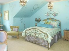 Blue Bedroom Decoration for Girls with Cool Wallpaper Some Cool Ideas for Girls Bedroom Design