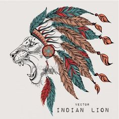 Aslan renkli Hint hamamböceği. Kızılderili tüy headdress kartal