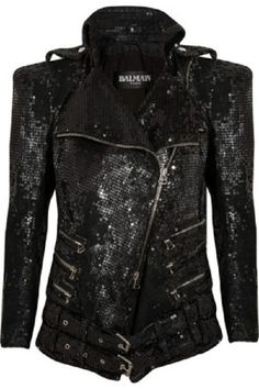 Balmain leather and sequins jacket.