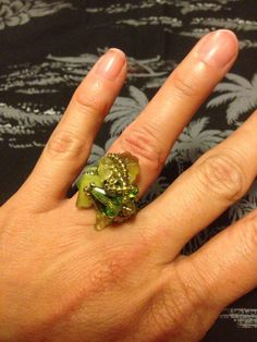Sale Beaded Wrapped Lime Green Cluster Ring on Etsy, $7.00