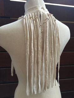 The AMAZON WARRIOR Ivory faux leather Fringe by NataletteDesign