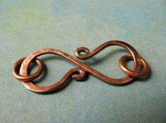 Antiqued Copper S Clasp - Hammered Artisan Jewelry Finding