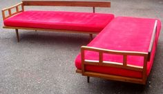 Mid Century Double Day Bed W/ Red Cushions