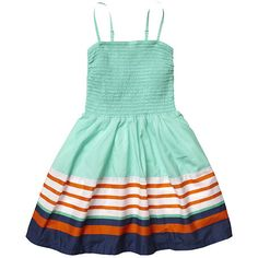 Gorgeous summer dress. Adjustable spaghetti straps and a shirred top ensure a perfect fit. Striped A-frame skirt with ample room to jump and twirl. Team it with a cardigan and sandals to welcome summer.