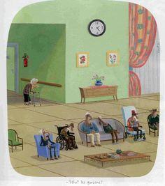 "#voutch #retraite ""salut les garçons"" Creepy Kids, Image Fun, Lowbrow Art, The New Yorker, Big Eyes, Lovers Art, Illustration, Cartoon, Drawings"