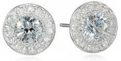 Amazon.com: Sterling Silver Swarovski Zirconia 1cttw Round Center Halo Earrings: Jewelry