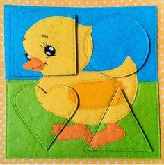 Baby book first jigsaw Diy Quiet Books, Baby Quiet Book, Felt Quiet Books, Quiet Book Templates, Quiet Book Patterns, Book Activities, Toddler Activities, Sensory Book, Ideias Diy