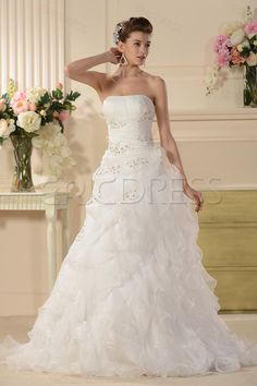 Splendid A-line Strapless Appliques Chapel Tiered Wedding Dress Unique Wedding Dresses- ericdress.com 10525971
