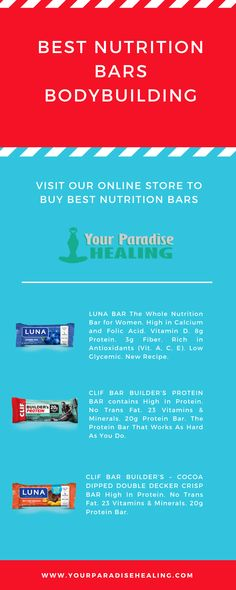 If are you searching for the Best nutrition bars bodybuilding, Your paradise healing offer best nutrition bars at affordable prices in New York and surrounding areas. Visit our online store to buy. Nutrition Bars, Healthy Nutrition, Luna Bars, Meal Replacement Bars, Clif Bars, Normal Body, Body Tissues, Post Workout Food, Breakfast Bars