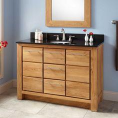 """48"""" Narrow Depth Venica Teak Vanity for Undermount Sink"""
