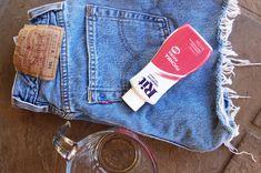 dye denim shorts DIY