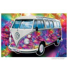 Gypsy Art Wanderlust VW Bus Art Mandala Original Art Van life Zentangle Psychedelic Hippie Van Spiritual Art