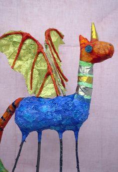 Paper mache and fabric Dragon