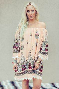Floral Coral Off The Shoulder Dress by Three Bird Nest | Bohemian Clothing