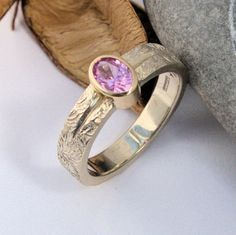 Pink Sapphire white and yellow gold ring