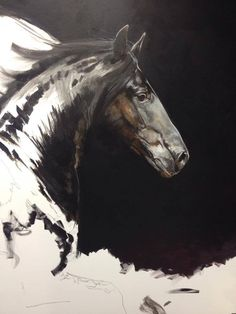 """'Dancing in the Dark' (72""""x48"""") canvas. Work in Progress. This stunning stallion is Rico. Tony O'Connor Equine Art"""