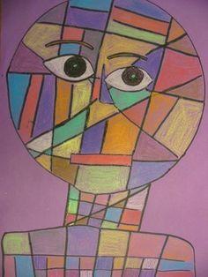 paul klee- construction paper crayons plus paint background.