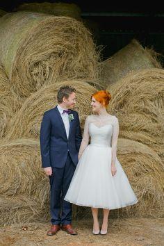 1950s inspired tea length wedding dress!