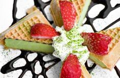 Green tea ice cream + waffles? Um, I think yes!  Available at Matcha Time Cafe in Historic Ellicott City, MD.