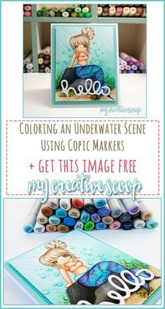 Coloring an underwater scene using Copic Markers +FREE Digi Stamp