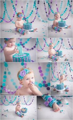purple and teal 1st birthday cake smash - girly birthday theme for cake smash photography