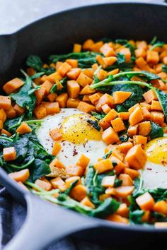 Skillet Sweet Potato & Kale Hash! Perfect for a healthy breakfast, lunch, or dinner. Gluten-free, vegetarian, and under 30 minutes!