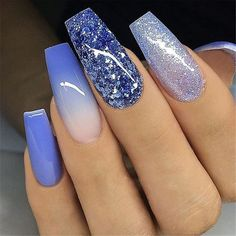Beautiful and Cute Bridal Nail Art Designs for 2019 nails Beautiful and Cute Bridal Nail Art Designs for 2019 - Fashion Blue Glitter Nails, Blue Coffin Nails, Green Nails, Long Nails, My Nails, Fall Nails, Winter Nails, Holiday Nails, Christmas Nails