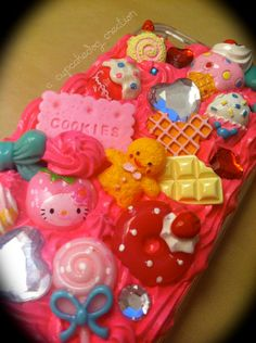 Pink and Teal Whipped Cream Decoden iPhone 4/4S case by cupcakedog, $20.00