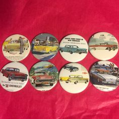 8 1958 Chevy Impala Brookwood Bel Air Buttons by Angelsbuttons