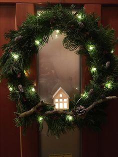 Natúr karácsonyi/téli ajtókopogtató
