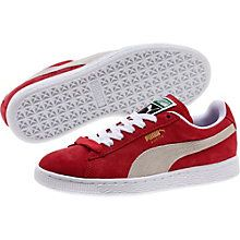 """Back in 1968, the city scene was packed with hot chicks in hot pants and tall boys in basketball shorts. That was when PUMA first lit a fire under culture's keister with the Suede silhouette. The industry rebel that said """"nay"""" to ordinary leather, the Suede was a warm-up shoe made infamous by athletic greats such as basketball's Walt """"Clyde"""" Frazier and the track's Tommie Smith."""
