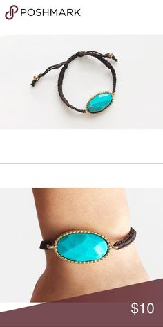 Turquoise with gold slip knot bracelet Turquoise colored stone with gold plating and adjustable. Feathers + Arrows Boutique Jewelry Bracelets