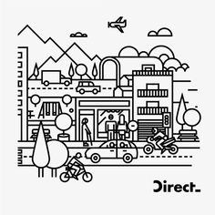 Direct Seguros by Forma and Co, via Behance Mountain Illustration, City Illustration, Graphic Design Illustration, Digital Illustration, Graphic Art, Line Design, Icon Design, City Branding, Arte Popular