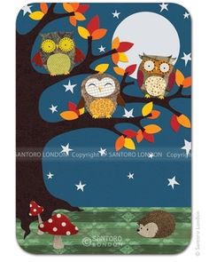 Night time owls postikortti Night Owl, Night Time, Santoro London, Kawaii Stationery, Busy Book, Cover Pages, Baby Room, Applique, Projects To Try