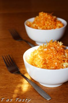 Sweet and spicy carrot and cabbage salad. Easy to make and very refreshing.