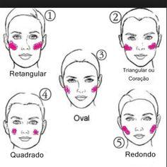 Meninasss o BLUSH tem efeitos poderosos no nosso rosto !!! Afinar Alongar !!! Para cada tipo se rosto tem uma forma correta de passar para dar esses efeitos mágicos !!!!!! Vamos fazer a campanha do BLUSH Marque qual é o numero do rosto ao lado da sua melhor amiga!!!!