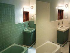 Painting Over Bathroom Tile http://janeandeugene.blogspot/2011/05/good-riddance-pink-tile