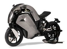 Saietta electric motorcycle -  Cool concept but that high of a hump probably obstructs your viewing area.