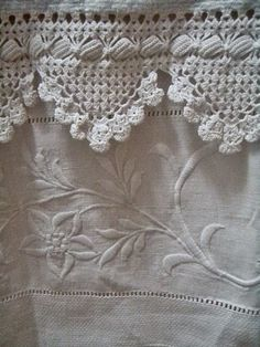 "Two perennial favorites: crocheted edgings and satin-stitch embroidery. White-on-white is always elegant, always in good taste, and always better than ""stained!"" Keep your linens snowy white with Mama's Miracle Linen Soak. Crochet Motifs, Crochet Borders, Filet Crochet, Crochet Lace, Crochet Patterns, Crochet Trim, Irish Crochet, Antique Lace, Vintage Lace"