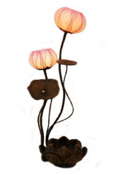 Mulberry Rice Paper Ball Handmade Lotus Flower Design Art Shade Round Globe Lantern Brown Asian Oriental Decorative Bedside Accent Home Decor Bedroom Table Floor Uplight Lamp by Antique Alive. $110.00. This lady table lamp consists of two lights covered with hanji paper shades in the shape of lotus flower buds. Each lamp is connected to a power source with a flexible cord that can be bent according to the user's need and desire. The frame and base of the lamp is a...