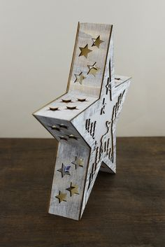 Lighted 3D Wood Star with Moose, Stars & Trees